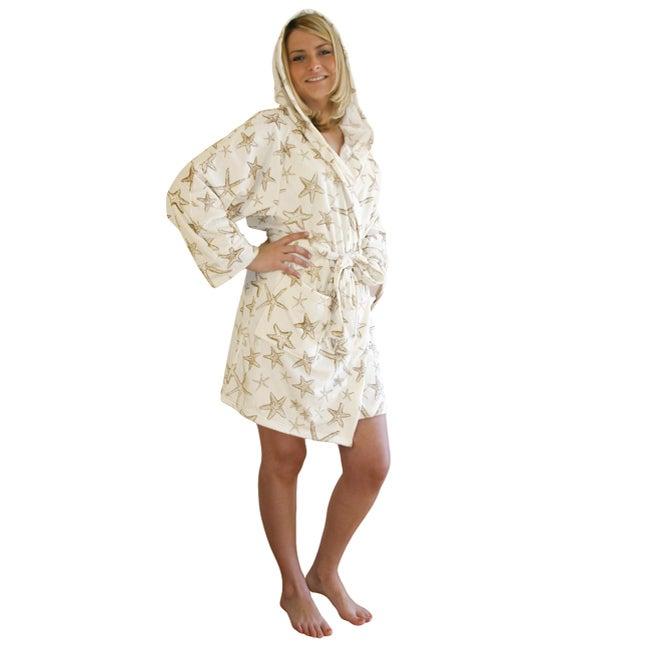 Women's Microluxe Starfish Short Plush Bath Robe