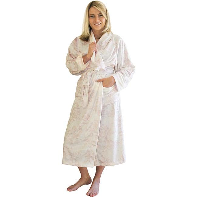 Women's Toile Microluxe Long Plush Bath Robe