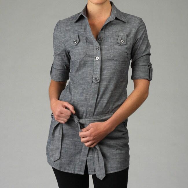 f659aadf Shop Velvet Heart Women's Button-down Tie Waist Tunic - Free Shipping Today  - Overstock - 4817593