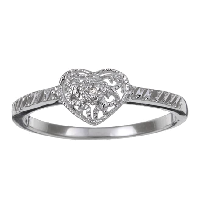 Sterling Silver Diamond Accent Vintage Heart Ring