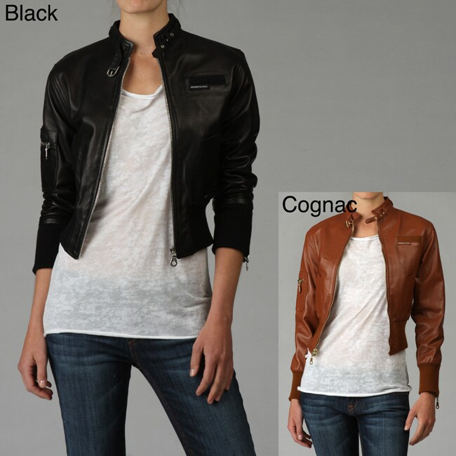 ff5261a30 Members Only Women's Classic Leather Bomber Jacket