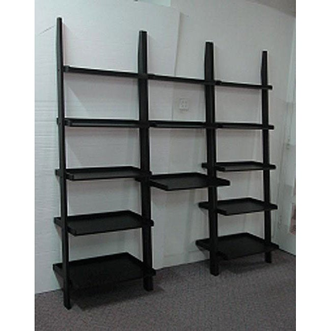 3 Piece Black Leaning Ladder Bookshelf With Laptop Desk