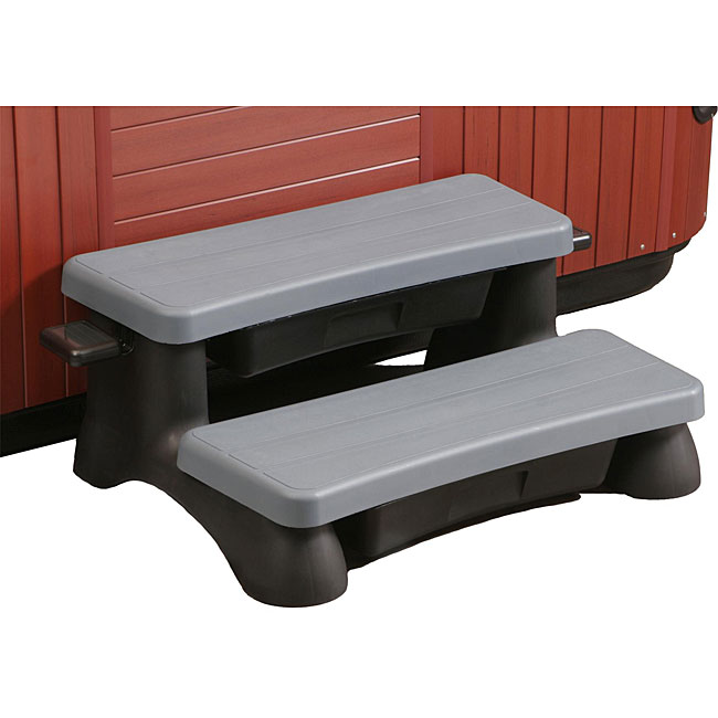 Deluxe Customizable Maintenance-free Resin Black and Grey Spa Step