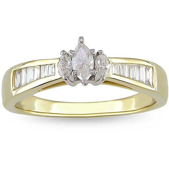 Miadora 14k Yellow Gold 1/2ct TDW Diamond Engagement Ring (G-H, I1-I2)