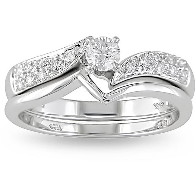 14k White Gold 1/3ct TDW Diamond Bridal Ring Set (H-I, I2-I3) - Thumbnail 0