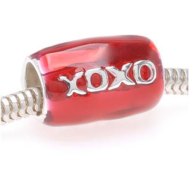 Beadaholique Silverplated with Red Enamel 'XOXO' Tube Beads (Pack of 2)