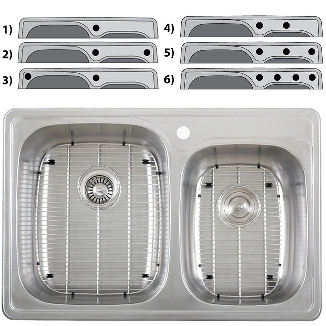 Ticor Overmount Stainless Steel 18-gauge Double-basin Kitchen Sink