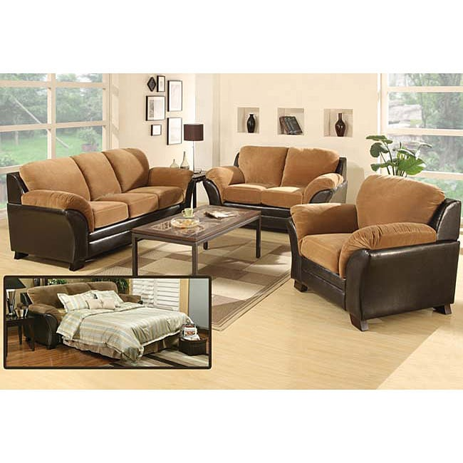 Mia microfiber hidden bed sofa and loveseat set free shipping today 12719485 Microfiber sofa and loveseat set