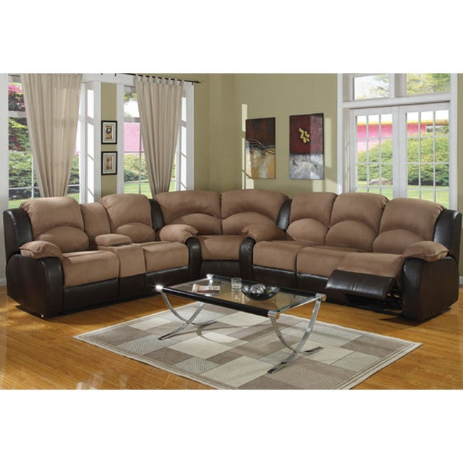 Shop Carrie Ann Microfiber/ Leather Sectional Reclining Sofa - Free ...