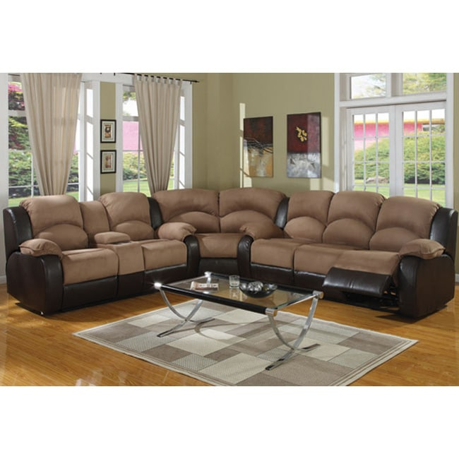 Carrie Ann Microfiber Leather Sectional Reclining Sofa Free Shipping Today 4829218