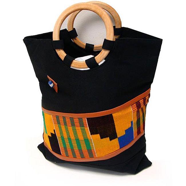 3c2d18869cd2 Shop Handmade Kente Fabric Bag with Wooden Handles (Ghana) - Free ...