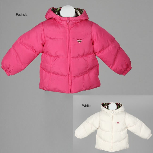 39c94adab Shop London Fog Toddler Girl's Hooded Puffy Coat with Scarf - Free Shipping  On Orders Over $45 - Overstock - 4831699