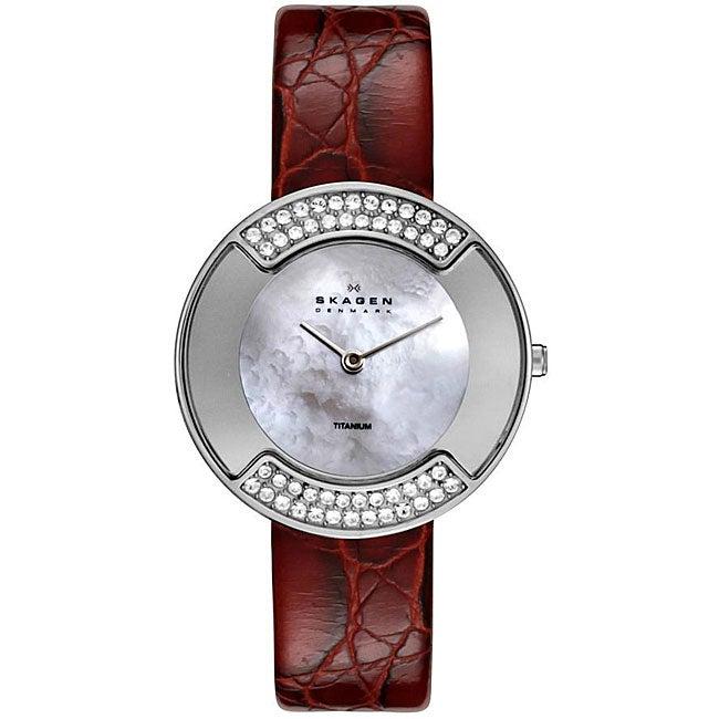 Skagen Women's Crystal Titanium Case Red Leather Strap Watch