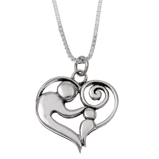Lola's Jewelry Sterling Silver Charm Necklace of mother and child