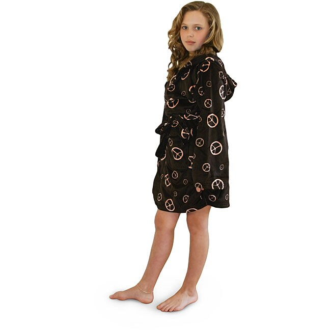 Children's Microluxe Peace Sign Hooded Bath Robe