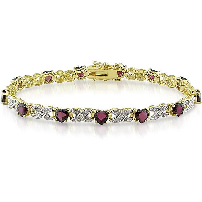 Miadora Sterling Silver Garnet and Diamond Accent Tennis Bracelet