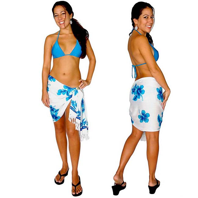 Hibiscus Turquoise, Blue and White Half Sarong (Indonesia)
