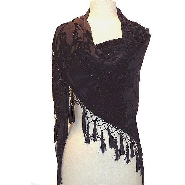 Embroidered Black Velvet/ Silk Shawl