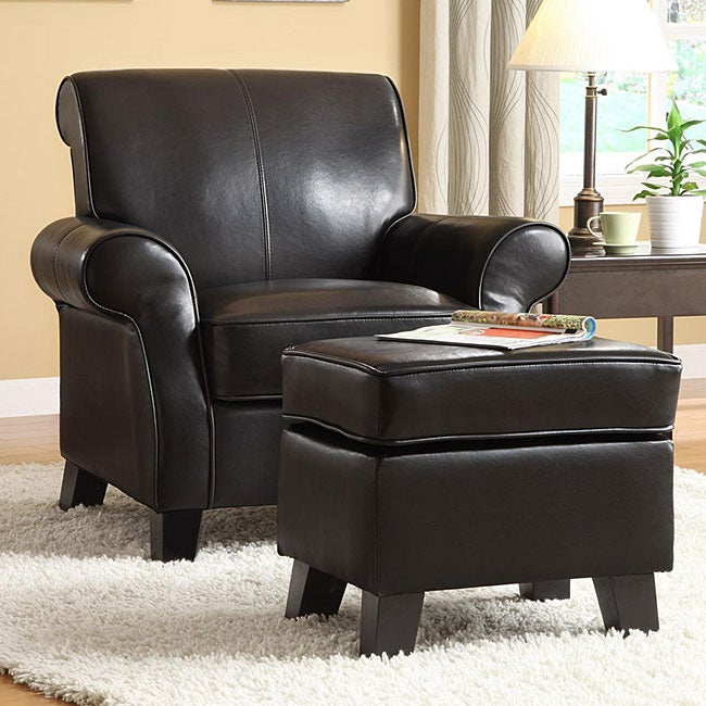 Noho Black Bi Cast Leather Club Chair With Ottoman Free