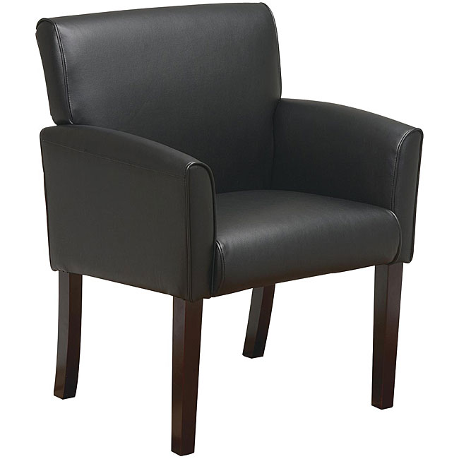 Office Star Black Vinyl Modular Guest Chair in Mahogany