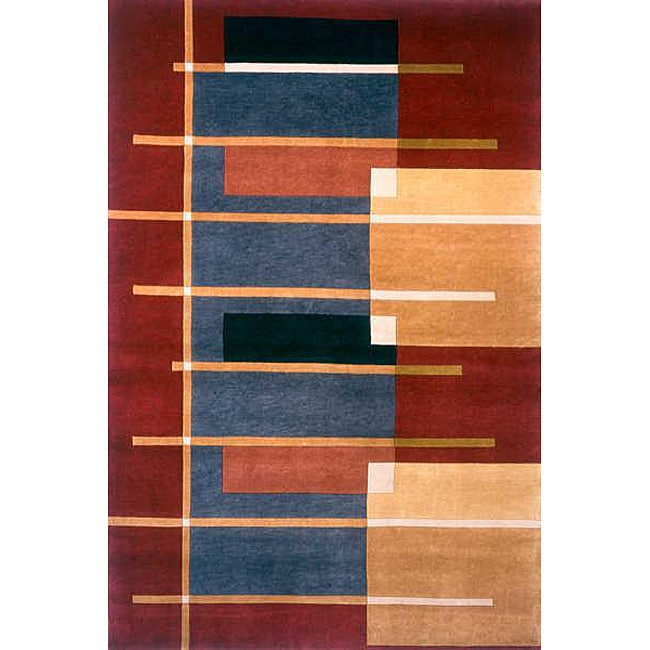 Hand-knotted Burgundy Wool Rug (8'6 x 11'6)