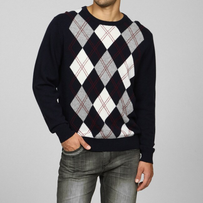 Oliver & James Men's Pure Cashmere Argyle Sweater - Free Shipping ...