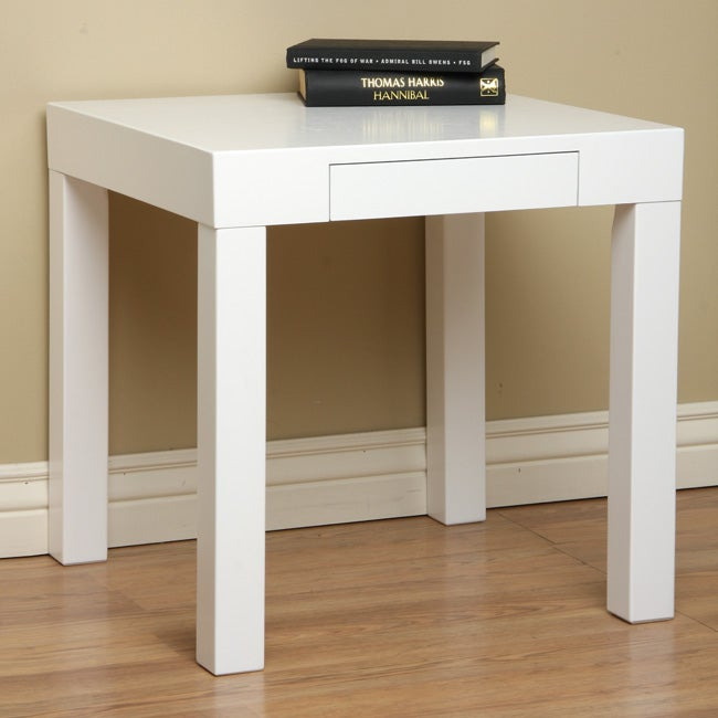 Lachlan Glossy White End Table