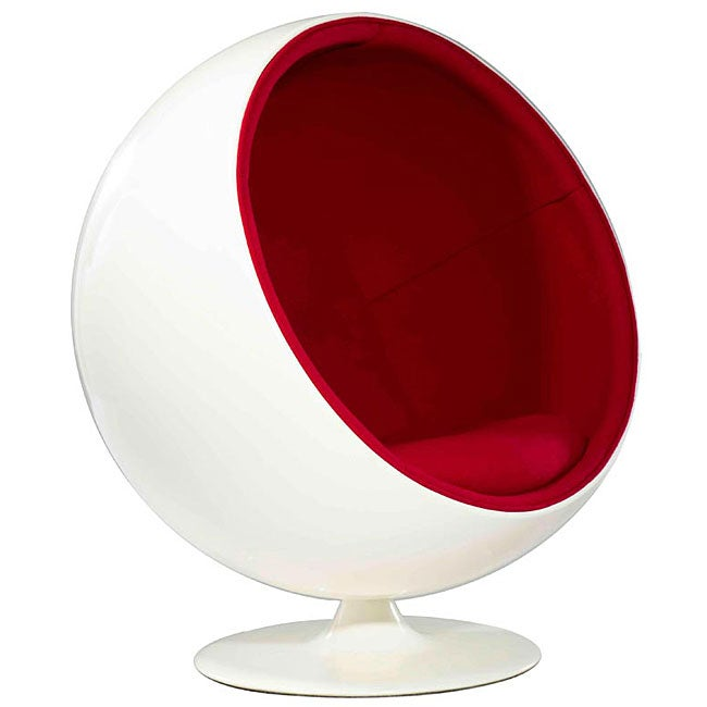 Shop Fiberglass White And Red Ball Chair Free Shipping