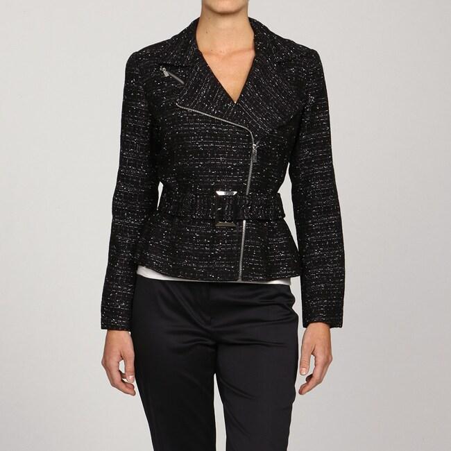 Katherine New York Women's Asymmetrical Tweed Moto Jacket