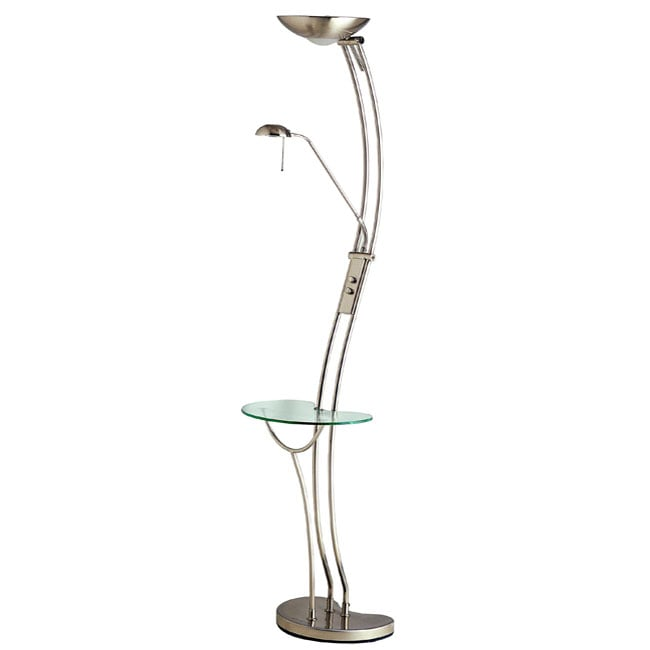 Modern nickel torchiere floor lamp table free shipping for Contemporary torchiere floor lamps