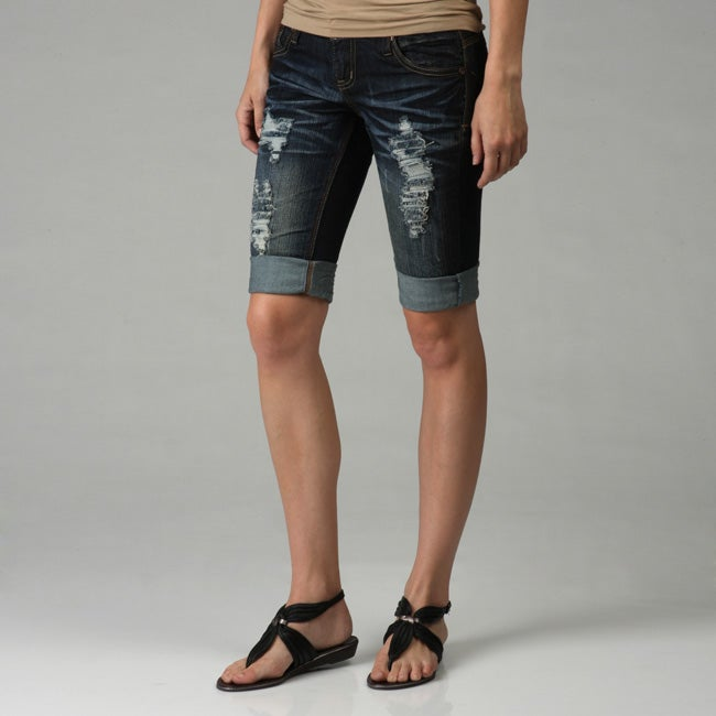 4c88bda54e6028 Shop Kensie Denim Women s Destroyed Bermuda Shorts - Free Shipping On Orders  Over  45 - Overstock - 4854491
