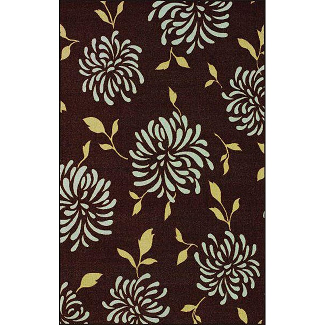 nuLOOM Infiniti Stardust Floral Chocolate Rug (4'5 x 6'9) - Thumbnail 0