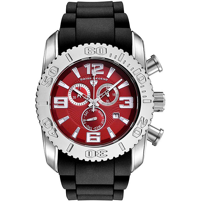 Swiss Legend Men's Steel Commander Red Dial Chronograph Watch - Thumbnail 0