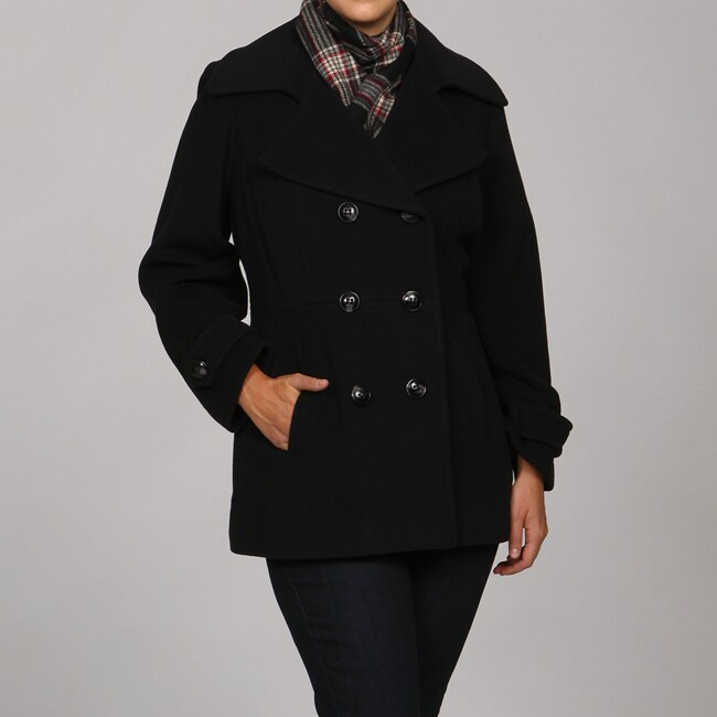 cd50733ca2bce Shop London Fog Women s Plus Size Wool Blend Double-Breasted Peacoat w   Scarf - Free Shipping Today - Overstock.com - 4862571