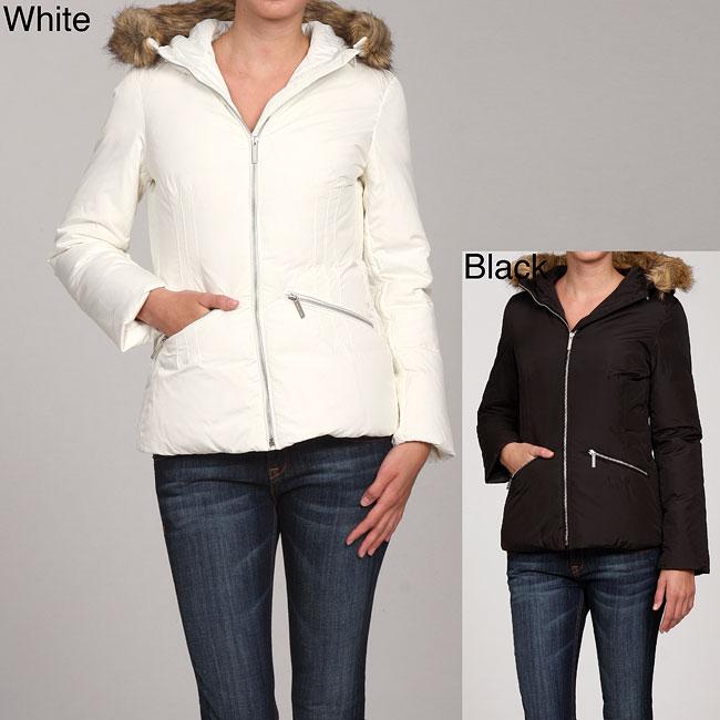 MICHAEL Michael Kors Women's Faux Fur Trim Hood Coat