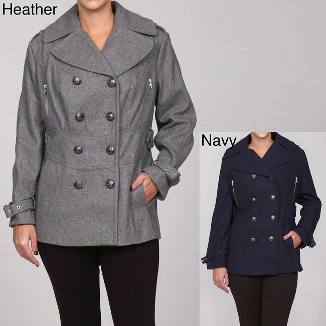 Miss Sixty Women's Plus Size Double-breasted Peacoat