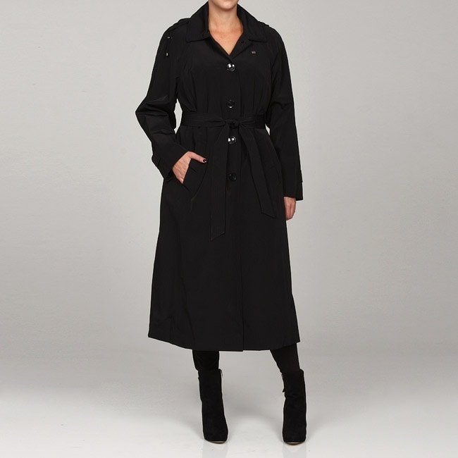 d439044669c Shop London Fog Women s Plus Size Hooded Trench Coat - Free Shipping Today  - Overstock - 4862940
