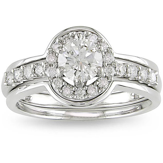 14k White Gold 1ct TDW Diamond Ring Set (G-H, I1-I2) - Thumbnail 0