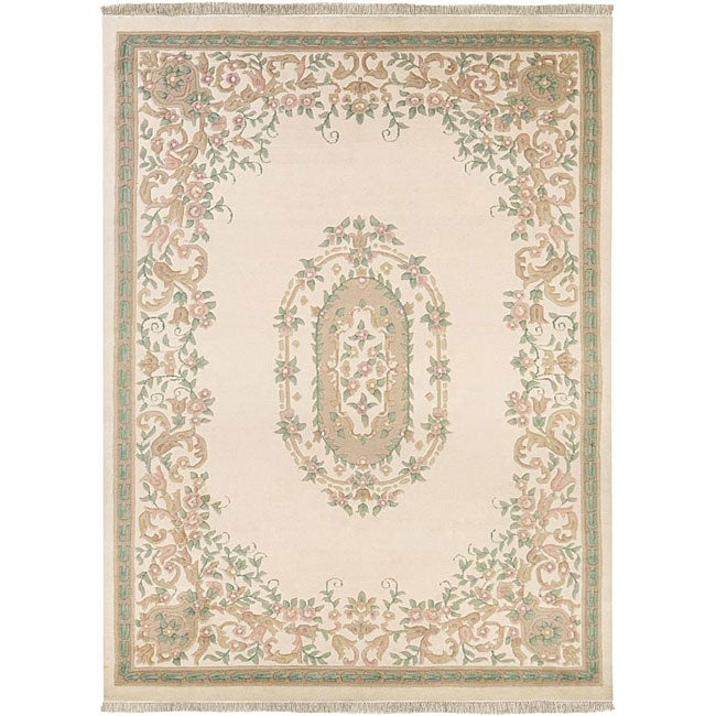Hand-knotted Krishna Ivory Wool Rug (8'3 x 11'6)