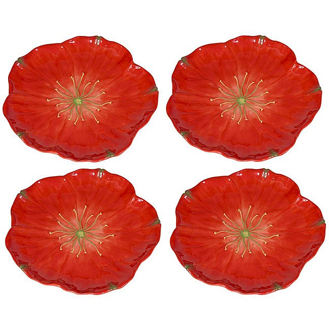 Large Red Poppy Plates Set Of 4 Free Shipping Today