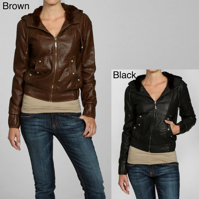 25a865818c2bf Shop Miss Sixty Women's Faux Leather Hooded Bomber Coat - Free Shipping On  Orders Over $45 - Overstock - 4865765