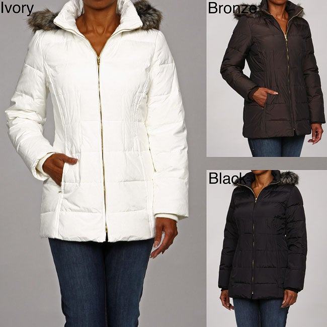 94b8b8ce9a2 Shop Anne Klein Women s Faux Fur Trimmed Hooded Coat - Free Shipping On  Orders Over  45 - Overstock - 4867805