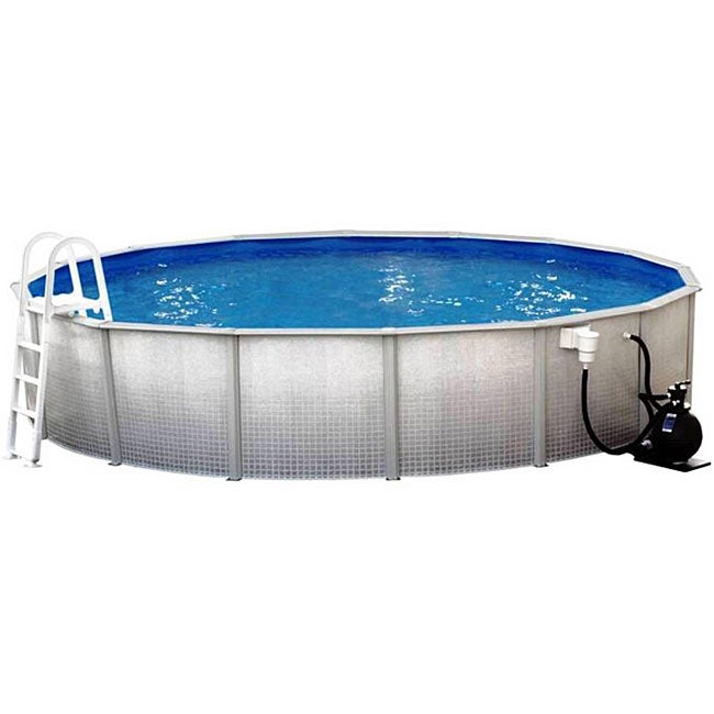 Discovery Above Ground 24 Foot Round Swimming Pool Package