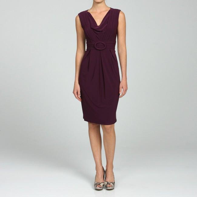 Julian Taylor Womens Drape neck Sleeveless Dress