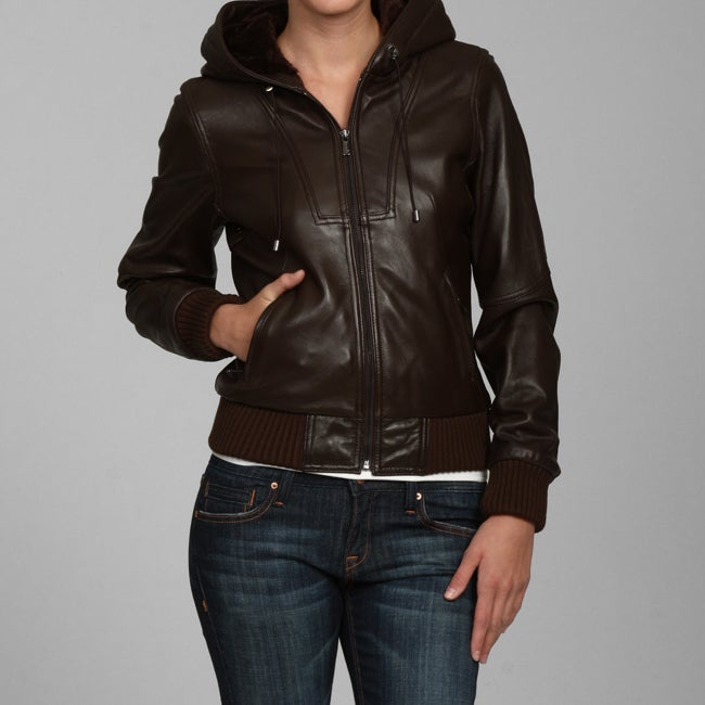 Jones New York Women's Leather Hooded Bomber Jacket - Free ...