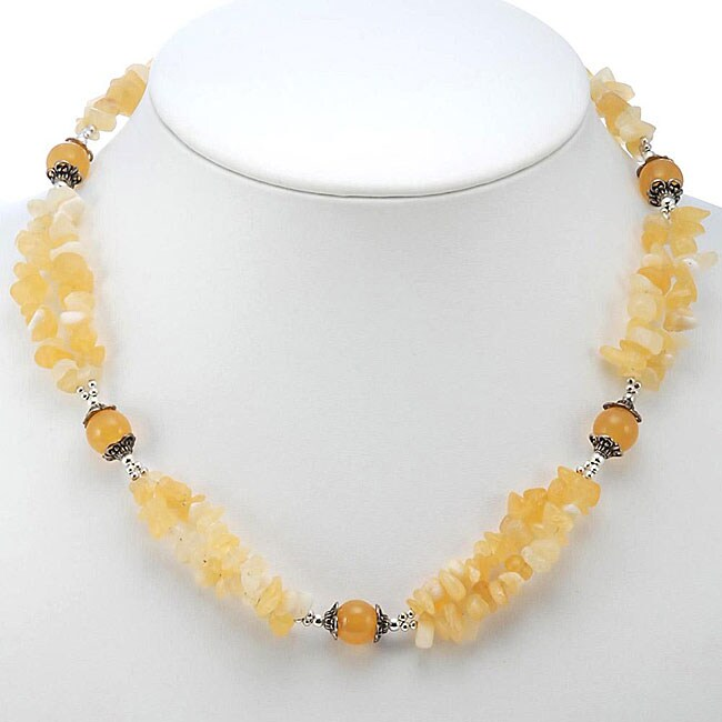 Silver Accent Golden Agate Necklace (Thailand)