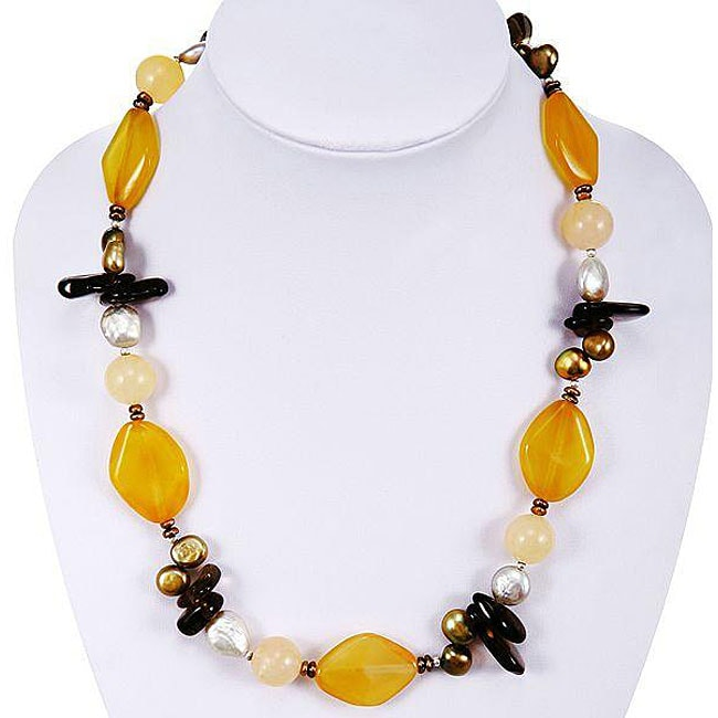Silver FW Pearl, Yellow Agate and Crystal Necklace (14-14.5 mm)(China)