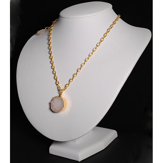 18k Gold Overlay 23-inch Drusy Quartz Necklace (USA)