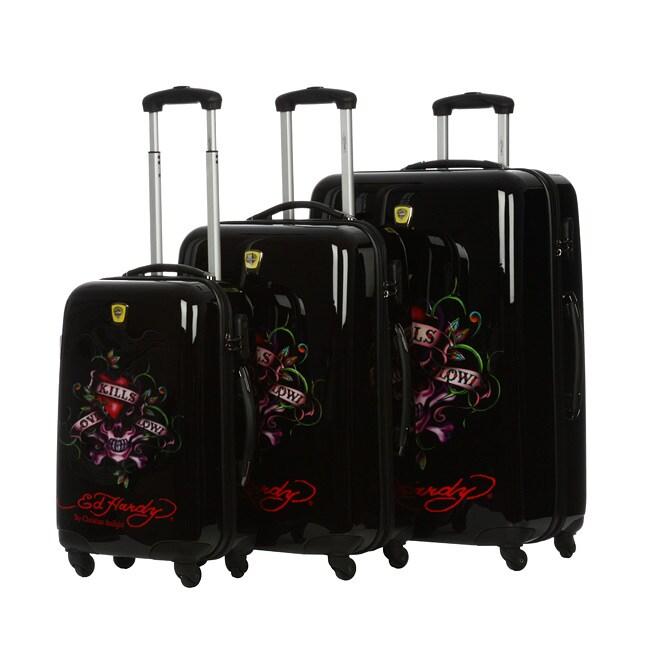 Shop Ed Hardy Love Kills Slowly Black 3-piece Hardside Luggage Set - Free  Shipping Today - Overstock.com - 4877645 9ea4efef4d