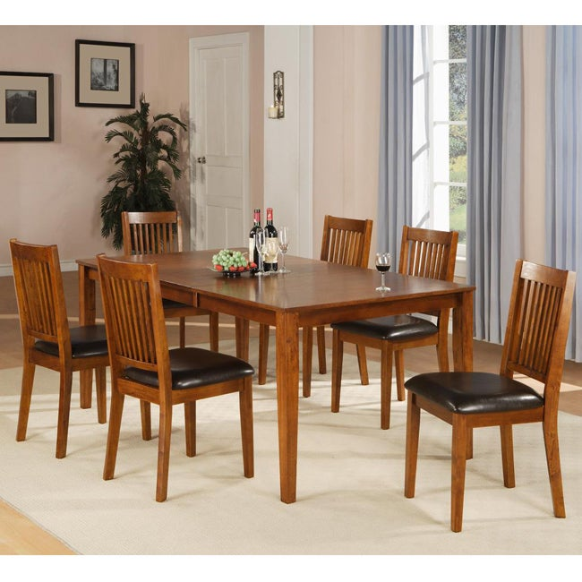 Mission Style Dining Room Set: Beauville 7-piece Oak Finish Dining Table Set